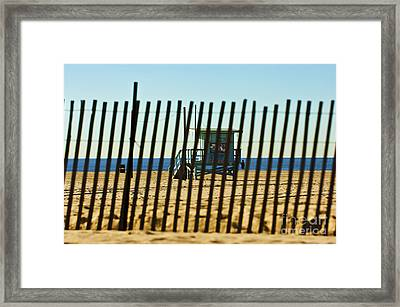 Windbreake On The Beach 3 Framed Print by Micah May