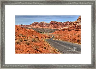 Winding Along The Waterpocket Fold Framed Print by Adam Jewell