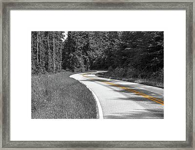 Winding Country Road In Selective Color Framed Print