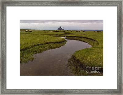 Winding In The Mont Saint-michel Bay Framed Print