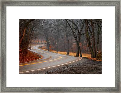 Winding Misty Road Framed Print