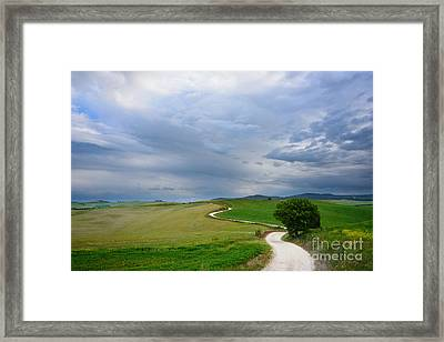 Winding Road To A Destination In A Tuscany Landscape Framed Print