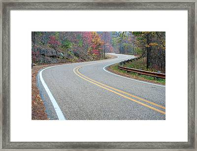 Winding Roads In Autumn Framed Print by Gregory Ballos
