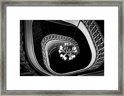 Winding Staircase In Black And White Framed Print