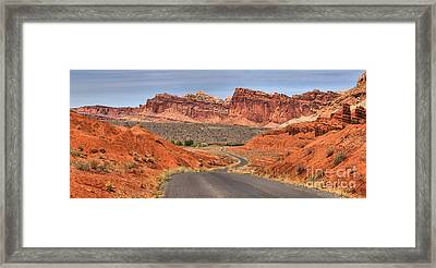 Winding Through The Waterpocket Panorama Framed Print by Adam Jewell