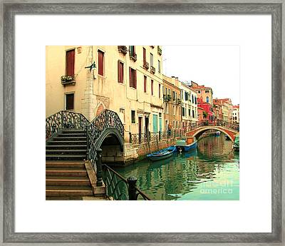 Winding Through The Watery Streets Of Venice Framed Print by Barbie Corbett-Newmin