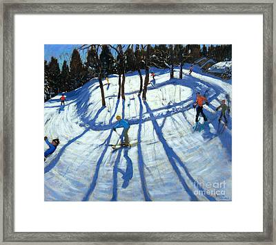 Winding Trail Morzine Framed Print by Andrew Macara