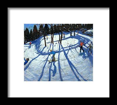 Ski Tracks Framed Prints