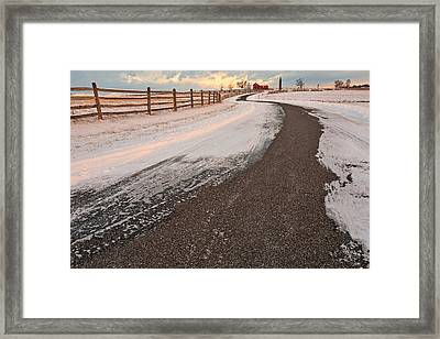 Winding Winter Road Framed Print