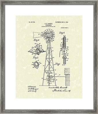 Windmill 1906 Patent Art Framed Print by Prior Art Design