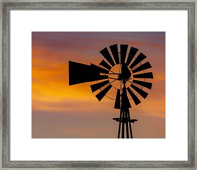Windmill And Clouds Framed Print