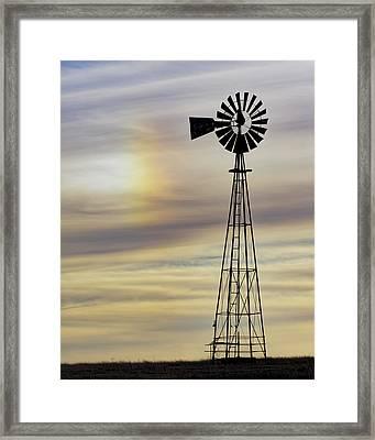 Windmill And Sun Dog Framed Print