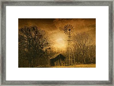 Windmill At Sunset Framed Print by Iris Greenwell