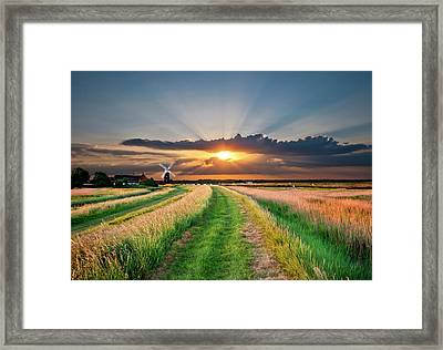 Windmill At Sunset Framed Print by Meirion Matthias