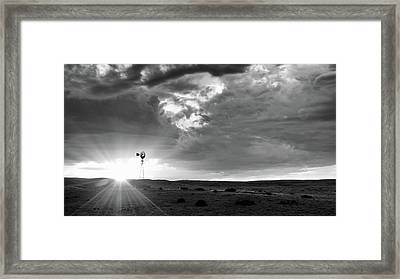 Framed Print featuring the photograph Windmill At Sunset by Monte Stevens