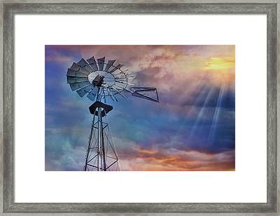 Framed Print featuring the photograph Windmill At Sunset by Susan Candelario