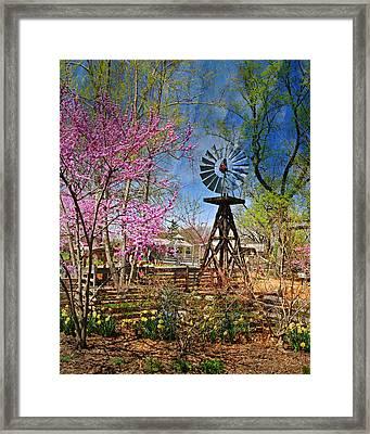 Windmill At The Garden Framed Print