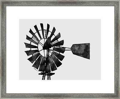 Windmill In Black And White Framed Print by Hailey E Herrera