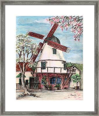 Windmill In Danish Village Solvang California Framed Print