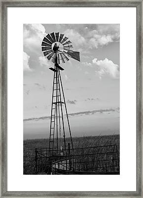 Windmill In Monochrome Framed Print by Tony Grider