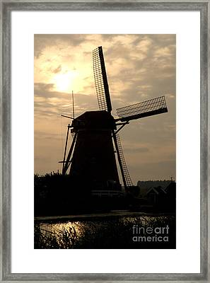 Windmill In Silhouette Framed Print