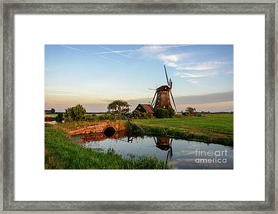 Windmill In The Countryside In Holland Framed Print by IPics Photography