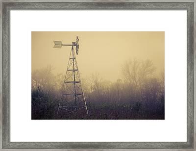 Windmill In The Foggy Dawn Framed Print