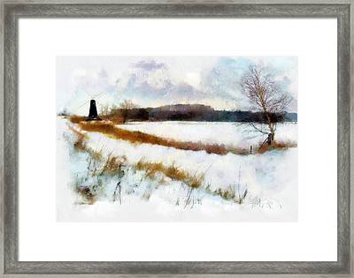 Framed Print featuring the painting Windmill In The Snow by Valerie Anne Kelly