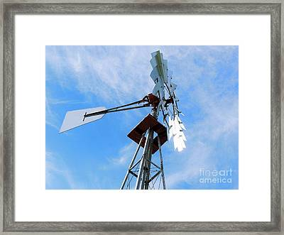 Framed Print featuring the photograph Windmill - Mildly Cloudy Day by Ray Shrewsberry