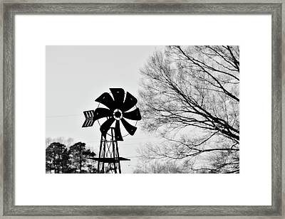 Windmill On The Farm Framed Print