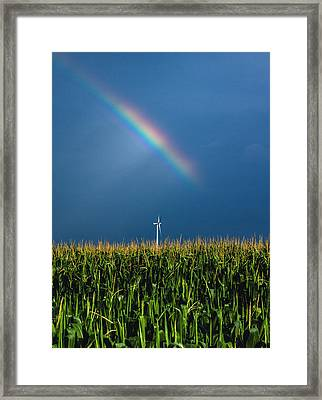 Windmill Rainbow Framed Print by Cale Best
