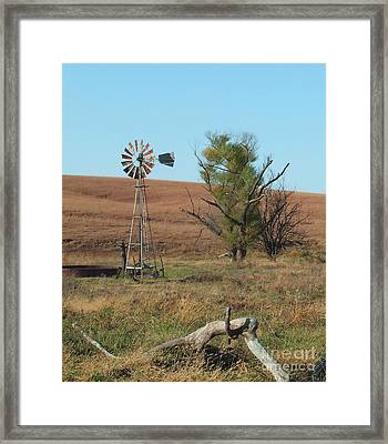 Windmill With Log Framed Print