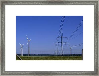 Windmills And High Voltage Transmission Framed Print by Norbert Rosing
