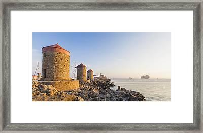 Windmills At Mandraki Harbour Framed Print by Werner Dieterich