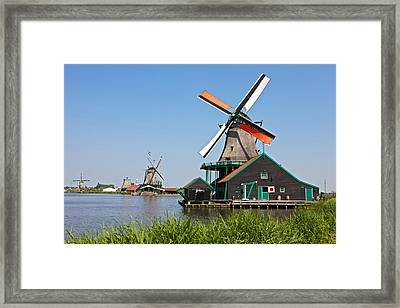 Windmills At Zaanse Schans Framed Print by Johan Elzenga