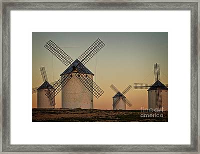 Framed Print featuring the photograph Windmills In Golden Light by Heiko Koehrer-Wagner