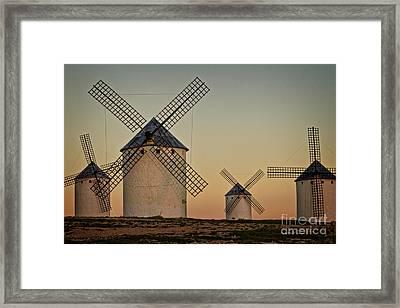 Windmills In Golden Light Framed Print