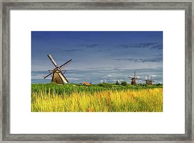 Windmills In Kinderdijk, Holland, Netherlands Framed Print by Elenarts - Elena Duvernay photo