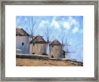 Windmills Of Mykonos Framed Print by Lois Bryan