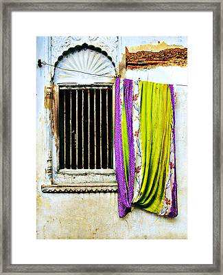 Window And Sari Framed Print by Derek Selander