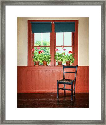 Window - Chair - Geraniums Framed Print by Nikolyn McDonald
