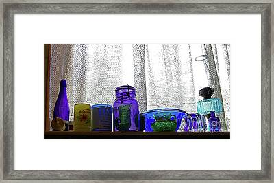 Window Colored Glassware Framed Print by Rich Walter