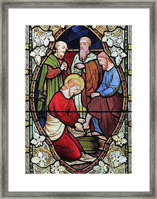 Window Depicting Jesus Washing The Feet Of His Disciples Framed Print by English School