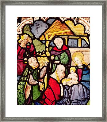 Window Depicting The Adoration Of The Magi Framed Print by French School