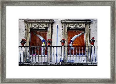 Window Dressing 2 In Florence Italy Framed Print