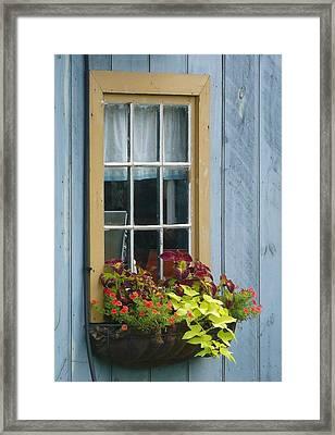 Window Flower Basket Framed Print by Lori Seaman