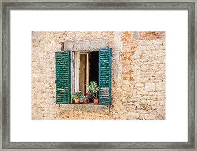Window Flowers Of Tuscany Framed Print by David Letts