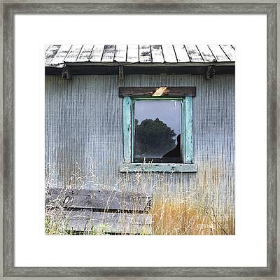 Window Framed In Aqua Framed Print by Glennis Siverson