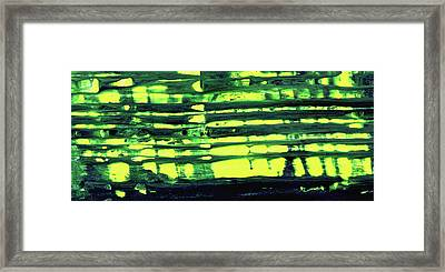 Window - Green And Yellow Abstract Painting Framed Print by Modern Art Prints