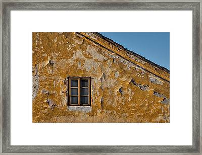 Framed Print featuring the photograph Window In A Weathered Czech Wall by Stuart Litoff